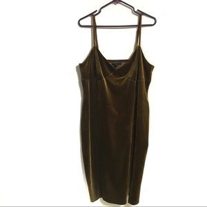 Forever 21 Brown Velvet Spaghetti Strap Dress 3X